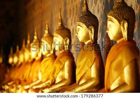 Golden buddha in temple - stock photo
