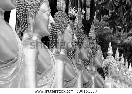 Golden buddha in temple, Row of Golden Buddha in Thailand. Buddha statue. ( Black and White ) - stock photo