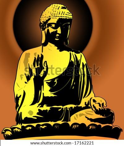 Golden Buddha Sitting Illustration on Sunset Background - stock photo