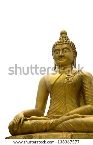 Golden buddha statue isolated on white background - stock photo