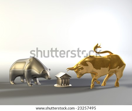 Golden bull and metal bear walking around a marble temple - stock photo