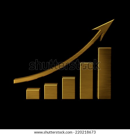 Golden business bar with growing up arrow - stock photo