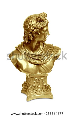 Golden bust sculpture of Apollo Belvedere isolated over white with clipping path. - stock photo