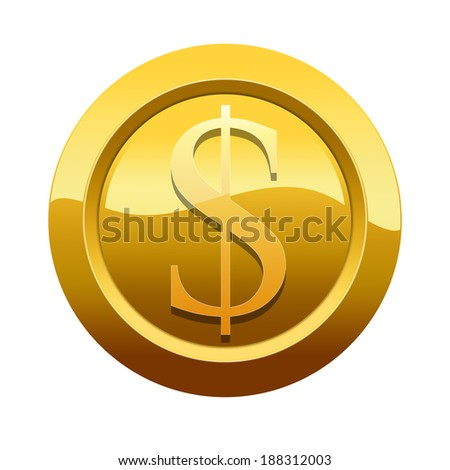 Golden button, icon with dollar symbol (Path preserved around the icon) - stock photo