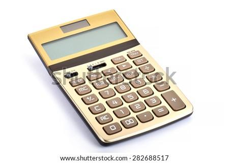 Golden Calculator- Studio closeup - stock photo