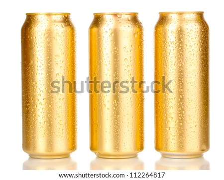 golden can with water drops isolated on white - stock photo