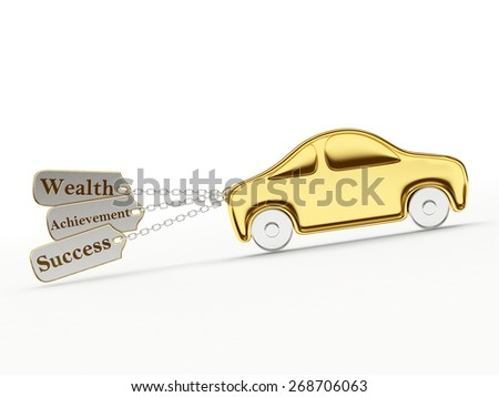 Golden car with success, wealth and achievements on key chains isolated on a white background - stock photo