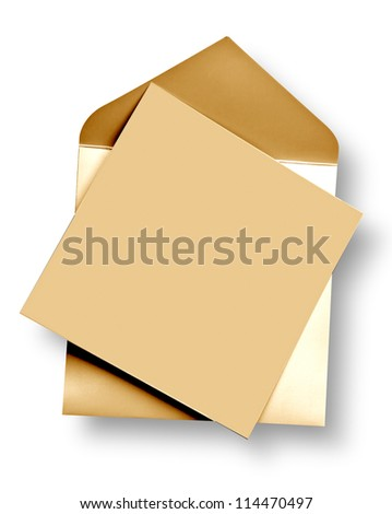 Golden card and envelope with shadow (clipping path) - stock photo
