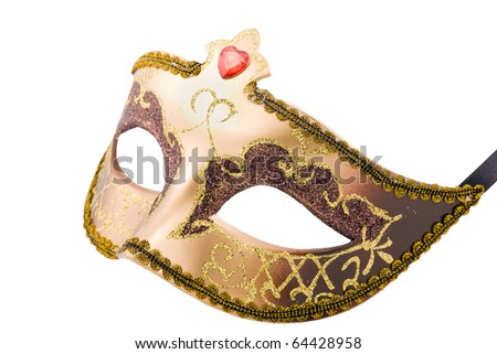 Golden carnival mask isolated on white with clipping path - stock photo