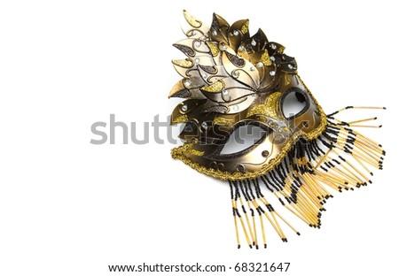 Golden carnival venetian mask - stock photo