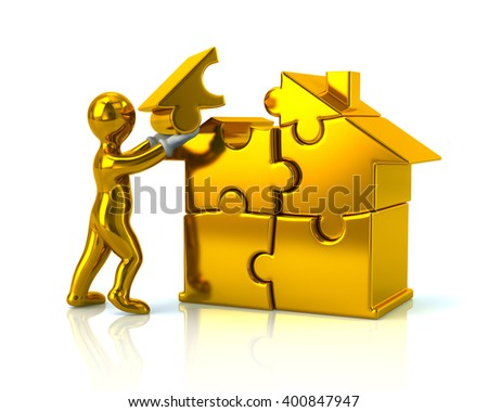 Golden cartoon man builds a puzzle house isolated on white background - stock photo