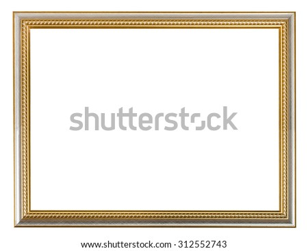 golden carved wooden picture frame with cut out blank space isolated on white background - stock photo