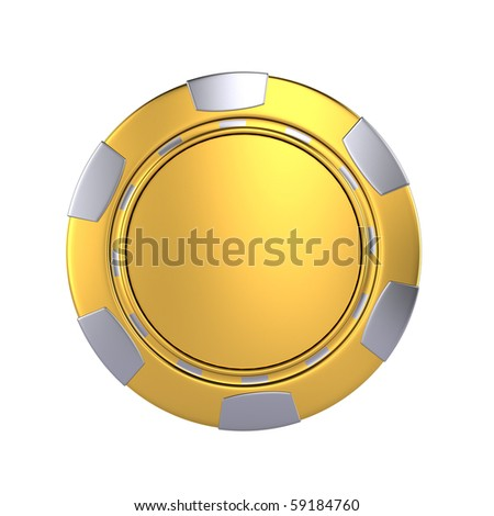 Golden casino chip - stock photo
