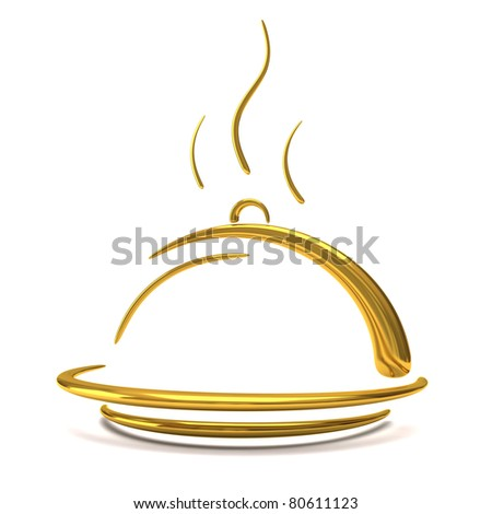 golden catering tray - stock photo