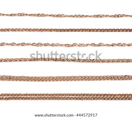 Golden chain isolated over the white background, set of six different foreshortenings - stock photo