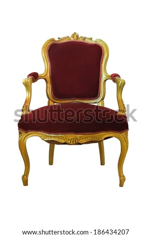 Golden chair with red woolen fabric isolate on white background - stock photo