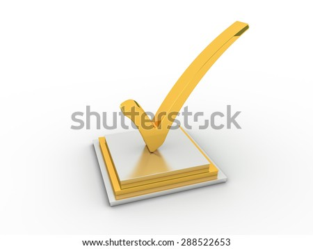 Golden check  mark icon. - stock photo