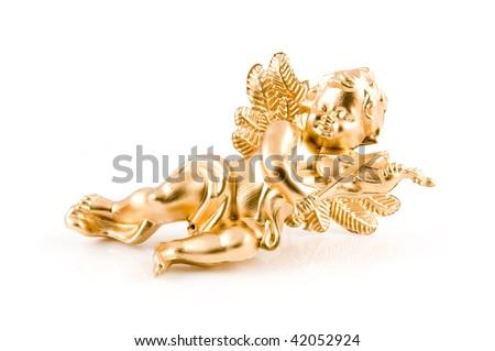 Golden cherub plays violin isolated on white background - stock photo