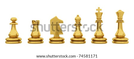 Golden chess pieces isolated on white background - stock photo