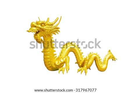 golden chinese dragon isolated on white background with clipping path - stock photo