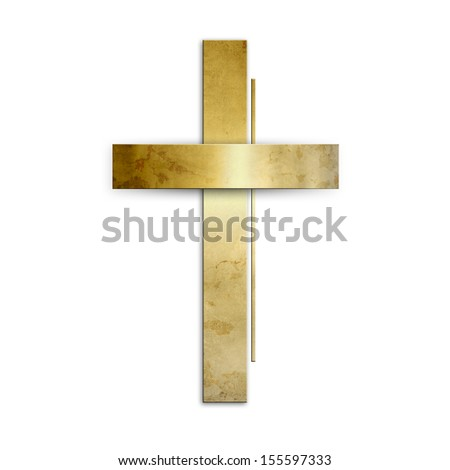 Golden christian cross against white background - stock photo