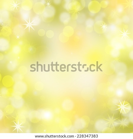 Golden Christmas background of blurred lights - stock photo