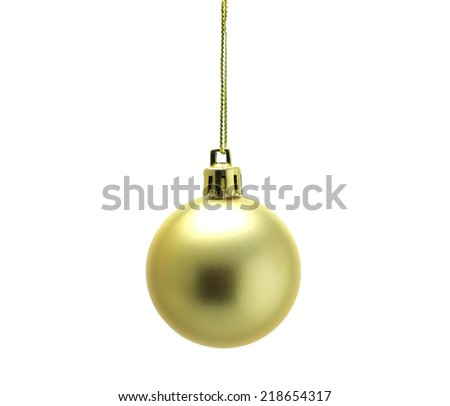golden Christmas ball isolated on white background - stock photo