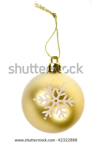 Golden  Christmas ball with snowflake isolated on white background - stock photo