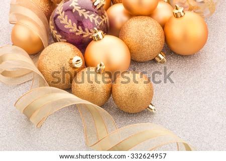 Golden christmas balls background. - stock photo