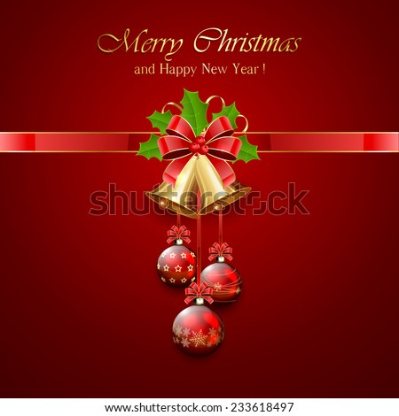 Golden Christmas bells with red bow, tinsel and Holly berries on red background, illustration. - stock photo
