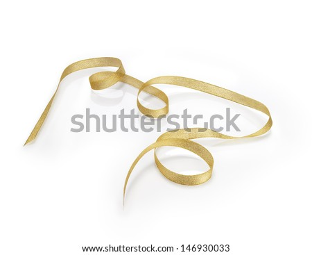 Golden Christmas loop with a soft reflection. Clipping path - stock photo