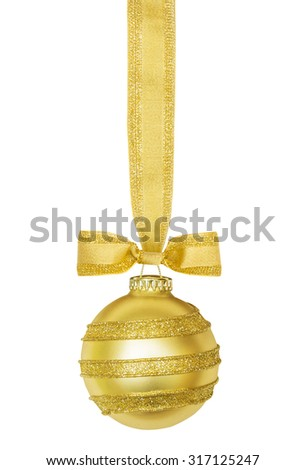 Golden Christmas sphere with ribbon and bow isolated on the white  - stock photo