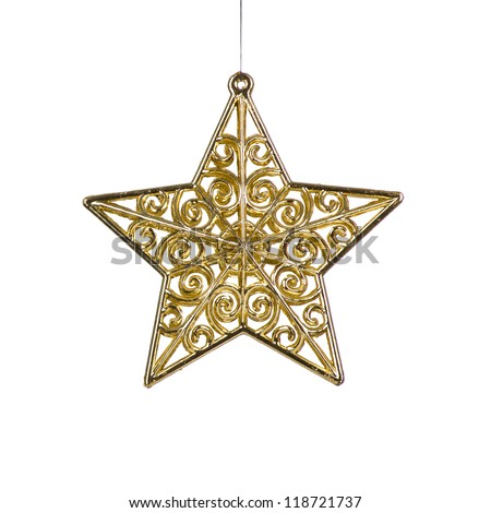 golden Christmas star decoration - stock photo