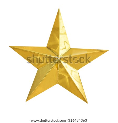 Golden Christmas Star isolated on white Background. Top View Close-Up Gold Star render (isolated on white and clipping path)  - stock photo