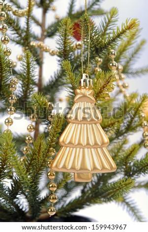 golden Christmas tree - stock photo