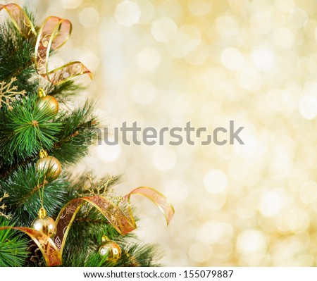 Golden Christmas tree background - stock photo