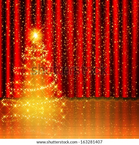 Golden Christmas tree background on red curtain and wood stage  - stock photo