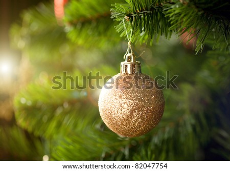 Golden Christmas tree ornament - stock photo