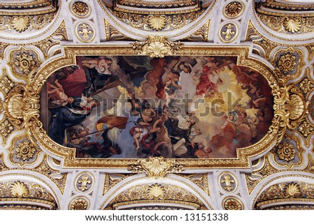 Golden Church Ceiling With Painting In Italy, Europe - stock photo