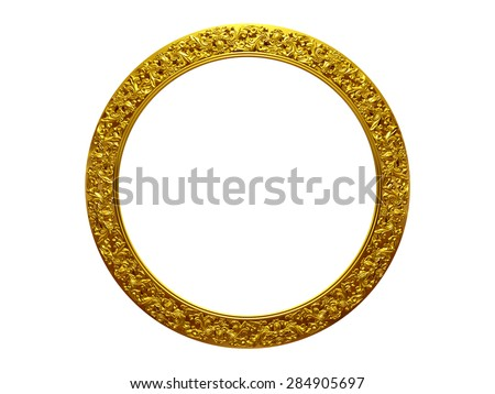 golden circle frame - stock photo
