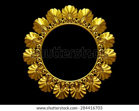 golden, circle, ornamental frame - stock photo