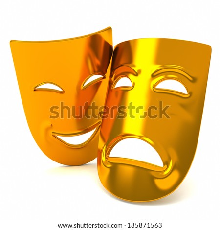 Golden classic comedy-tragedy theater masks, 3d - stock photo