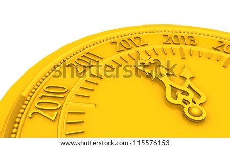 Golden clock with year 2013 - stock photo