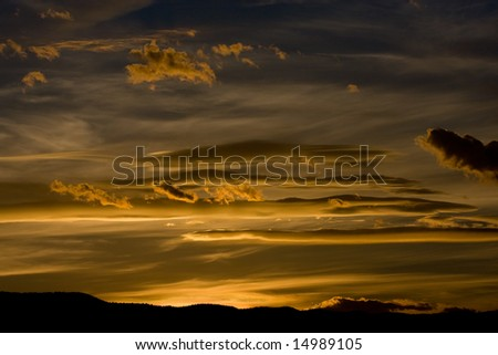 Golden Clouds - stock photo
