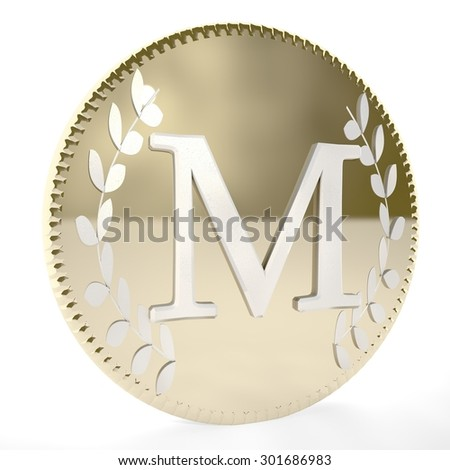Golden coin with M letter and laurel leaves, white background, 3d render, square image - stock photo