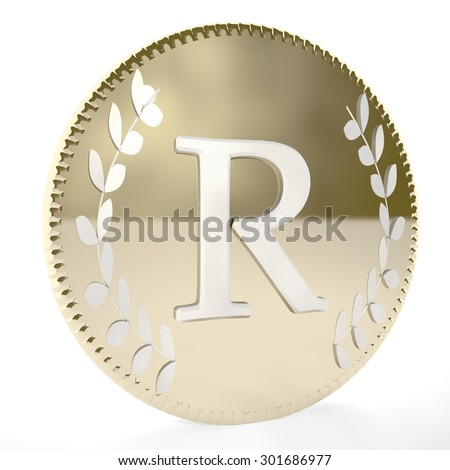 Golden coin with R letter and laurel leaves, white background, 3d render, square image - stock photo