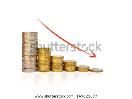 Golden coins and red arrow Graph falls on white background - stock photo