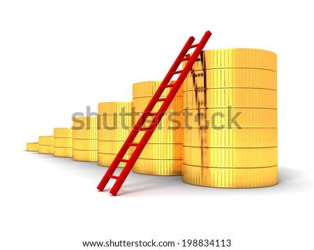 golden coins bar chart graph with ladder. business success 3d render illustration - stock photo