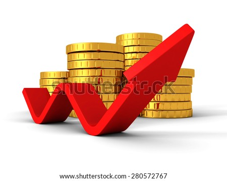 Golden Coins Bars With Red Rising Up Arrow. Finance Achivement Success Concept 3d Render Illustration - stock photo