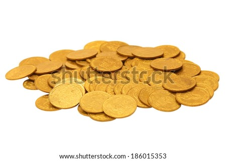 Golden coins heap isolated on white background. - stock photo